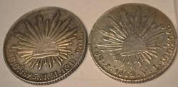 2 Sharp Cap and Rays Silver  8 Reales  Mexico