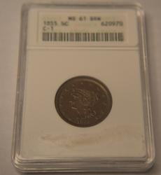 1855 Half Cent Uncirculated  in an MS61 holder
