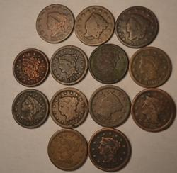 13 Assorted Large Cents