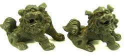 Antique Pair of East Asian Thai Bronze Lion Statue