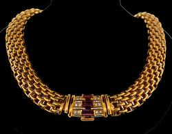 Phenomenal Quality Panthere Link 18kt Gold Necklace