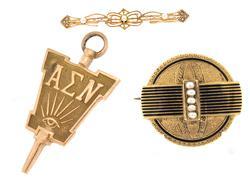 Three 14kt Solid Gold Vintage Pendants