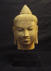 Rare Antique Stone Buddha Head Starue, 18th Century