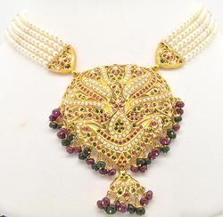 22KT Yellow Gold Pearl, Ruby and Emerald Necklace