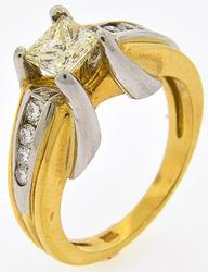 18kt Gold Princess Cut Diamond Ring