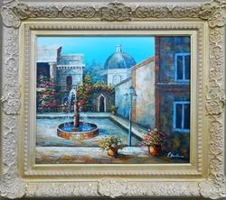 SPECTACULAR FOUNTAIN SCENE OIL PAINTING ON CANVAS