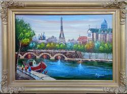 SPECTACULAR PARIS SCENE OIL PAINTING ON CANVAS
