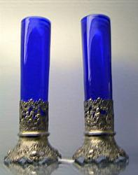 German.800 Silver 10 Inch Cherub Vases With Blue Cobalt Liners