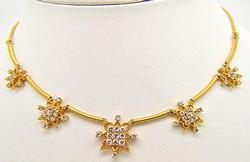 Floral Design 22kt Gold Necklace with Cz Accents