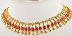 Stunning Quality Orangy Color Gemstone Necklace, 22kt
