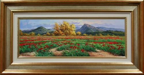 POPPIES IN LANDSCAPE OIL PAINTING BY CARBONELL