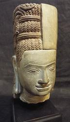 Exquisite Early Cambodian Deity Carved Sandstone Statue
