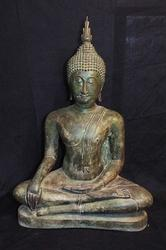 Huge Antique Thai Buddha Bronze Statue 19 Century