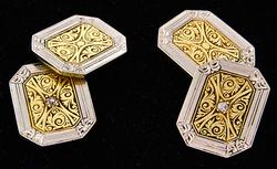 VINTAGE TWO TONE DIAMOND CUFFLINKS