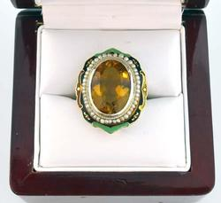 Victoria Antique 6.4ctw citrine & pearl ring