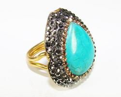 HOTTEST FASHION HANDMADE GEM AND CRYSTAL 925 SILVER RING