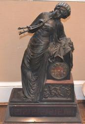 French Figural Bronze and Marble Clock