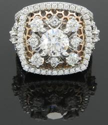Signed Designer 3+CTW Diamond White and Rose Gold Ring