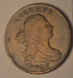 1803 Sharp Scarce Draped Bust Half Cent.