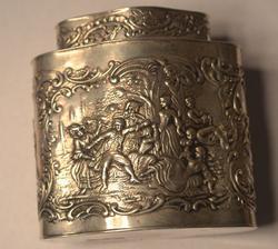 Repousse Continental .830 Silver Tea Caddy Circa 1900