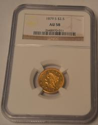 Scarce 1879 S Quarter Eagle Gold in NGC AU 58 Holder