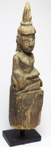 Rare Hand Carved Antique Laotian (Laos) Buddha Statue
