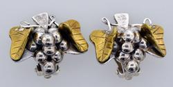 Vintage Sterling Silver Heavy Grapes Earrings