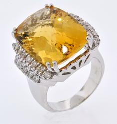 12+CTW Citrine and Diamond Ring
