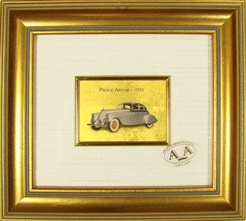 COLLECTIBLE ITALIAN HANDMADE GOLD LEAF PIERCE ARROW 1933