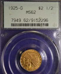 MS-62 1925-D GOLD QUARTER EAGLE $2.50 GOLD COIN