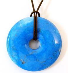 2 Inch Turquoise Donut on Leather Cord