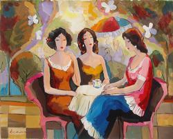 Rare Original Acrylic By Michael Kerman, Girl Talk