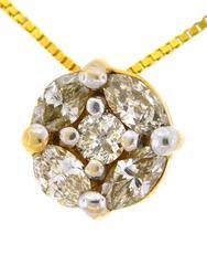 Ladies 14kt Gold Diamond Cluster Pendant