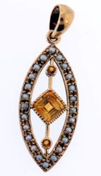 Antique Pearl & Citrine Handmade Pendant