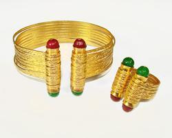 LATEST FASHION ARTISAN JEWELRY GOLD PLATED BIJOUX SET