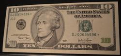 Near Unc $10 Frn  Star Note 2003