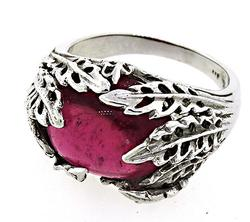 9.0 CT RUBELLITE LEAF STYLE RING, CERTIFIED