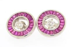 Elegant 1.89ctw ruby & diamond earrings with jackets