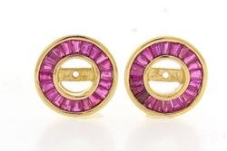 Elegant 14kt gold earring jackets with 2.56ctw of rubie