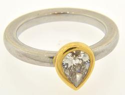 Ladies 18kt Two-Tone Pear Cut Diamond Ring