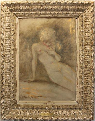 Erotic Louis Icart Oil on Canvas