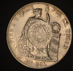 Peru 1884 Counter-Stamped Guatemala Silver Sol