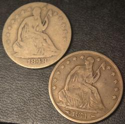1848 O and  1874 Arrows Seated Half Dollars