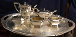 Gorham Fairfax 5 Piece Sterling Art Deco Tea Set & Continental Silver Tray