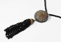 FANTASTIC GEMSTONE & CRYSTAL GOLD PLATED 925 S NECKLACE