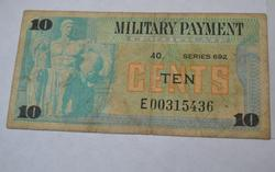 10 Cent  Military Payment Currency Replacement Note 123 Known