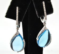 BLUE TOPAZ & DIAMOND EARRINGS