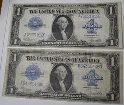 2 Different series $1 Silver Certificates Large Size