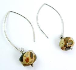 Long Sterling Earrings with Dalmation Agates