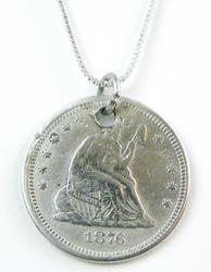 Antique 1876 Silver Love Token Pendant & Chain